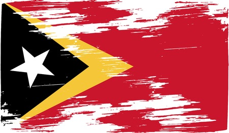 timor: Flag of East Timor with old texture. Vector illustration Illustration