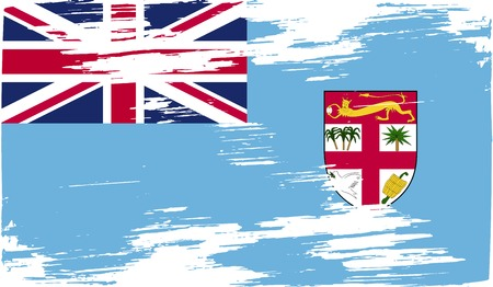 proportional: Flag of Fiji with old texture. Vector illustration
