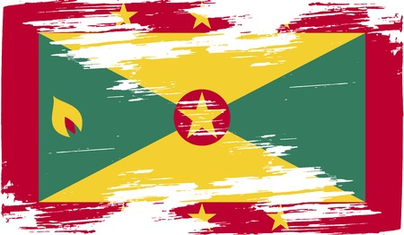 frayed: Flag of Grenada with old texture. Vector illustration