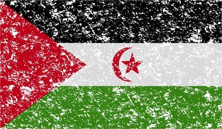 landlocked: Flag of Western Sahara with old texture. Vector illustration