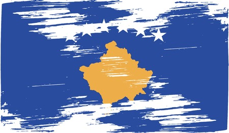 kosovo: Flag of Kosovo with old texture. Vector illustration