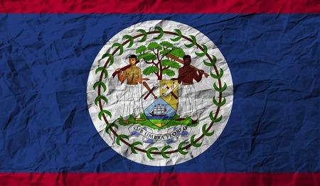 belize: Flag of Belize with old texture. Vector illustration
