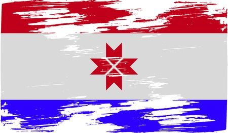 standards: Flag of Mordovia with old texture. Vector illustration