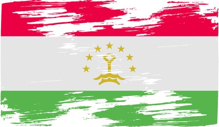 proportional: Flag of Tajikistan with old texture. Vector illustration Illustration