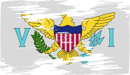 virgin islands: Flag of Virgin Islands US with old texture. Vector illustration Illustration