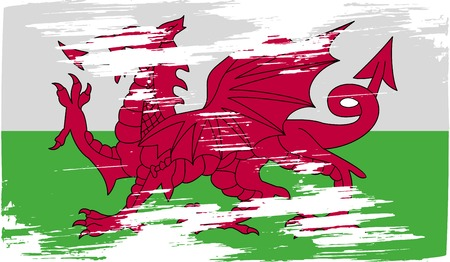 Flag of Wales with old texture. Vector illustration Vector