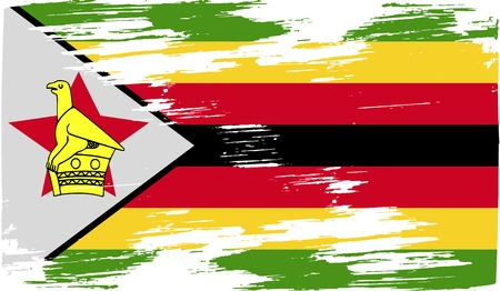 proportional: Flag of Zimbabwe with old texture. Vector illustration Illustration