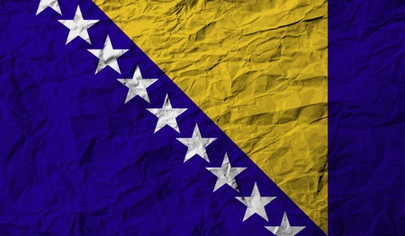 bosnia: Flag of Bosnia and Herzegovina with old texture. Vector illustration