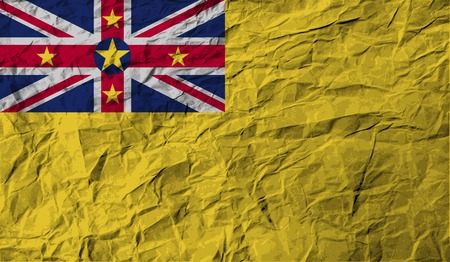 Flag of Niue with old texture. Vector illustration Vector