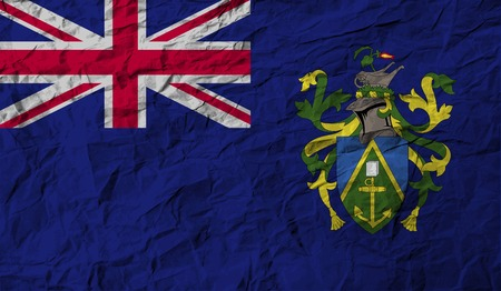 pitcairn: Flag of Pitcairn Islands with old texture. Vector illustration