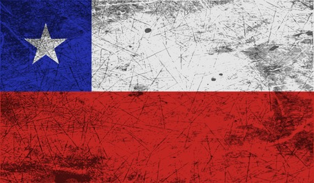 chilean: Flag of  with old texture. Vector illustration Illustration