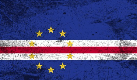 cape verde: Flag of Cape Verde with old texture. Vector illustration