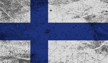 Flag of Finland with old texture. Vector illustration Vector