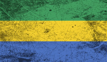 proportional: Flag of Gabon with old texture. Vector illustration