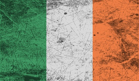 Flag of Ireland with old texture. Vector illustration Illustration