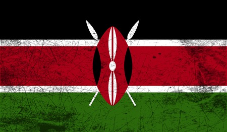 world flag: Flag of Kenya with old texture. Vector illustration