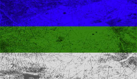 northwestern: Flag of Komi with old texture. Vector illustration Illustration