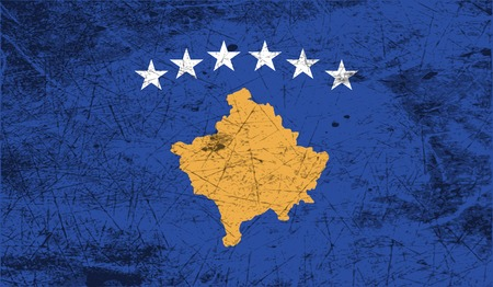 travel locations: Flag of Kosovo with old texture. Vector illustration