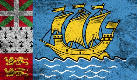 territorial: Flag of Saint Pierre and Miquelon, France with old texture. Vector illustration