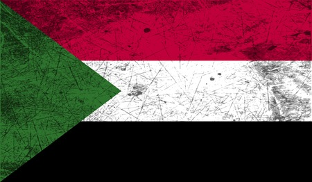 benin: Flag of Sudan with old texture. Vector illustration