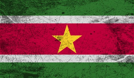 suriname: Flag of Suriname with old texture. Vector illustration Illustration