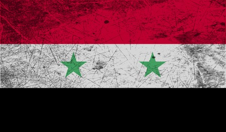 Flag of Syria with old texture. Vector illustration Vector