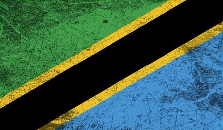 world war two: Flag of Tanzania with old texture. Vector illustration
