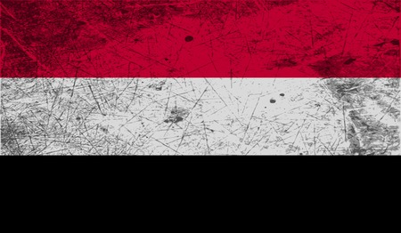 retrospective: Flag of Yemen with old texture. Vector illustration