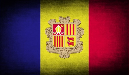 andorra: Flag of Andorra with old texture. Vector illustration Illustration