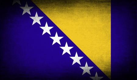 herzegovina: Flag of Bosnia and Herzegovina with old texture. Vector illustration