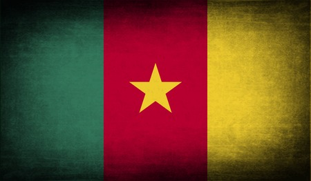 cameroonian: Flag of Cameroon with old texture. Vector illustration Illustration