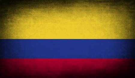 colombian: Flag of Colombia with old texture. Vector illustration