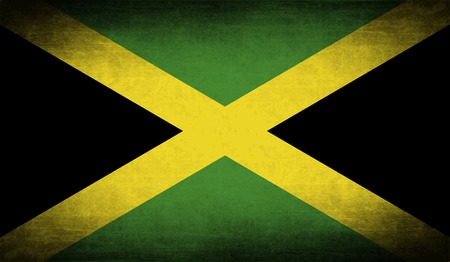jamaica: Flag of Jamaica with old texture. Vector illustration