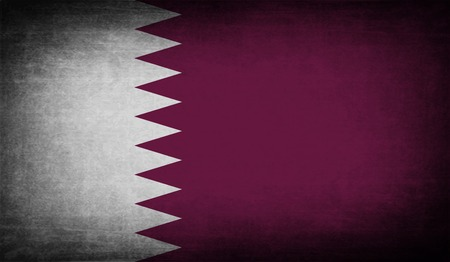 patriots: Flag of Qatar with old texture. Vector illustration