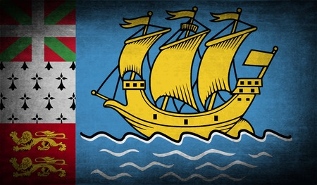 collectivity: Flag of Saint Pierre and Miquelon, France with old texture. Vector illustration