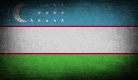 oezbekistan: Vlag van Oezbekistan met oude textuur. Vector illustratie Stock Illustratie