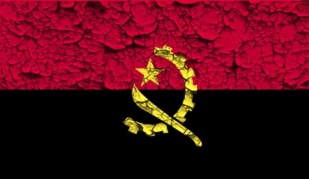 patriots: Flag of Angola with old texture. Vector illustration