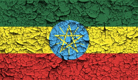 Flag of Ethiopia with old texture. Vector illustration Vector
