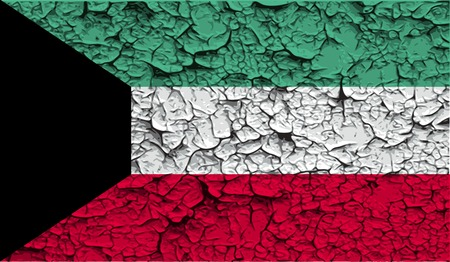 spangled: Flag of Kuwait with old texture. Vector illustration