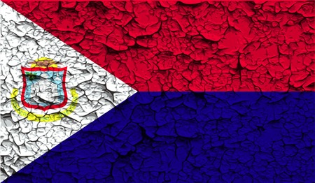 martin: Flag of Saint Martin with old texture. Vector illustration