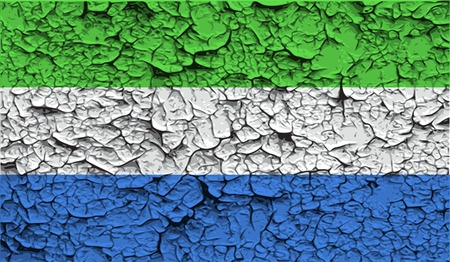 leone: Flag of Sierra Leone with old texture. Vector illustration