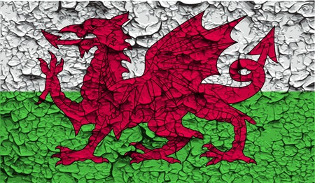 cymru: Flag of Wales with old texture. Vector illustration