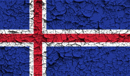the icelandic flag: Flag of Iceland with old texture. Vector illustration Illustration