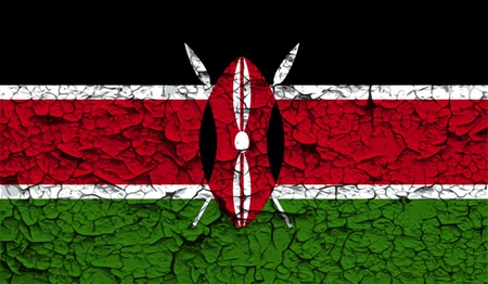 proportional: Flag of Kenya with old texture. Vector illustration