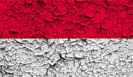 patriots: Flag of Monaco with old texture. Vector illustration