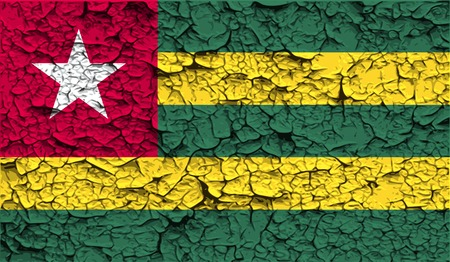 togo: Flag of Togo with old texture. Vector illustration Illustration