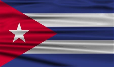 cuban flag: Flag of Cuba with old texture. Vector illustration Illustration