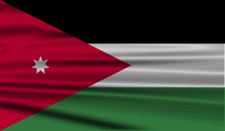 jordanian: Vlag van Jordanië met oude structuur. Vector illustratie