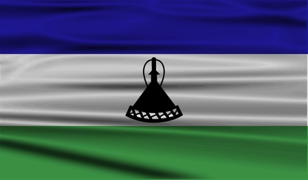 lesotho: Flag of Lesotho with old texture. Vector illustration