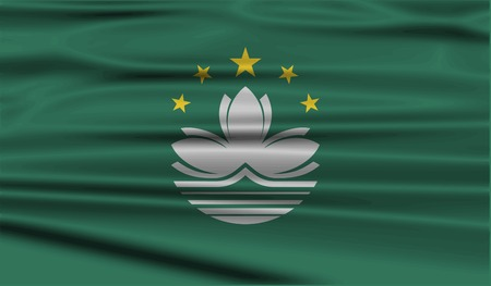 macau: Flag of Macau with old texture. Vector illustration